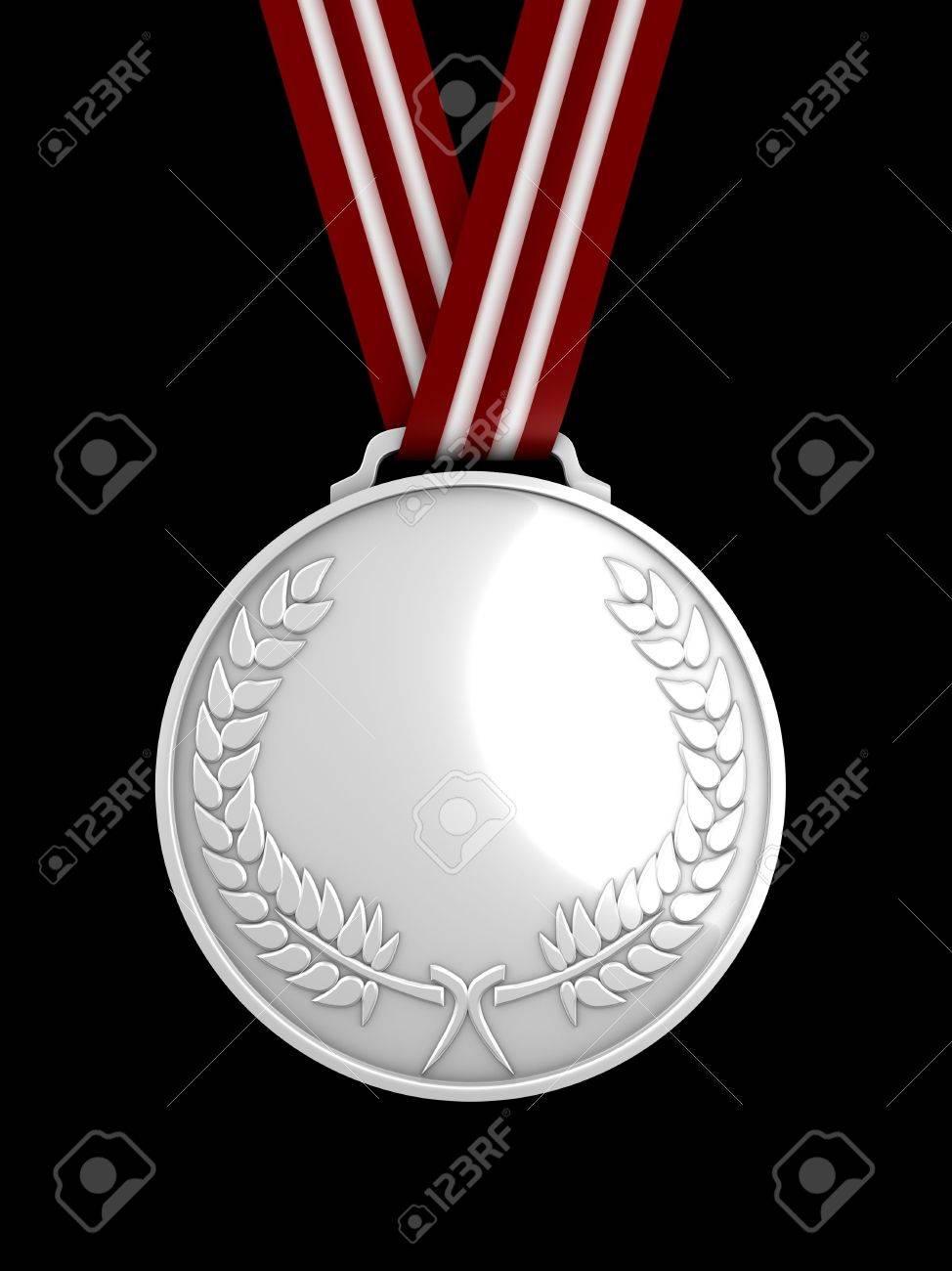 3d image, shinysilver medal Stock Photo - 3508209