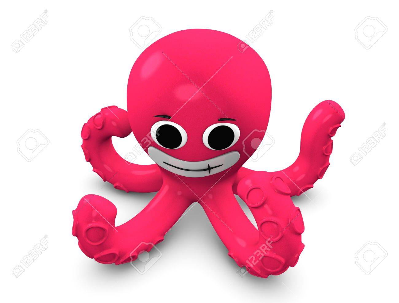 3d rendering, Cartoon concept illustration of octopus, isolated on white. Stock Illustration - 11453958
