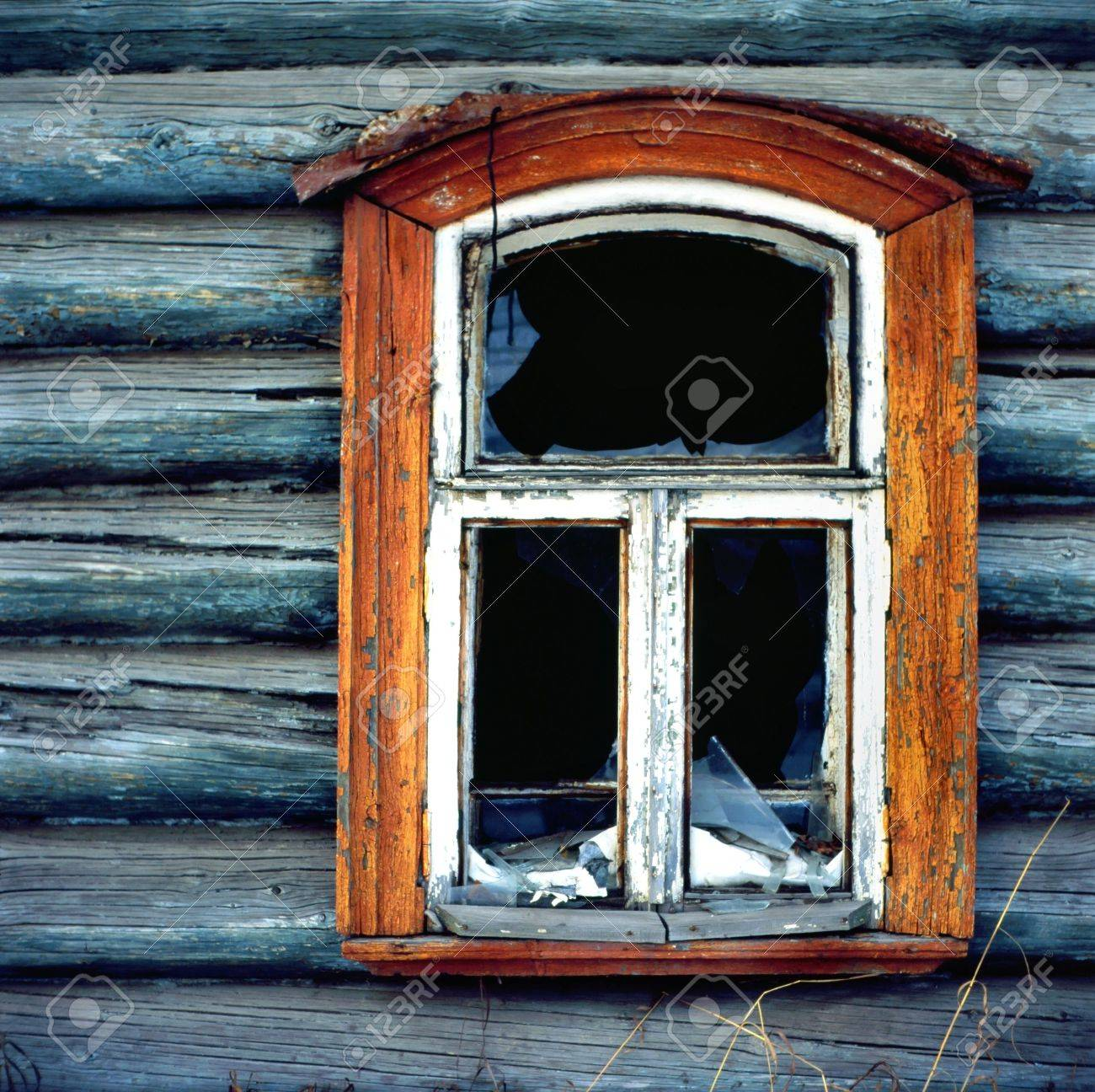 Old Wooden Window With Wall Texture Stock Photo Picture And