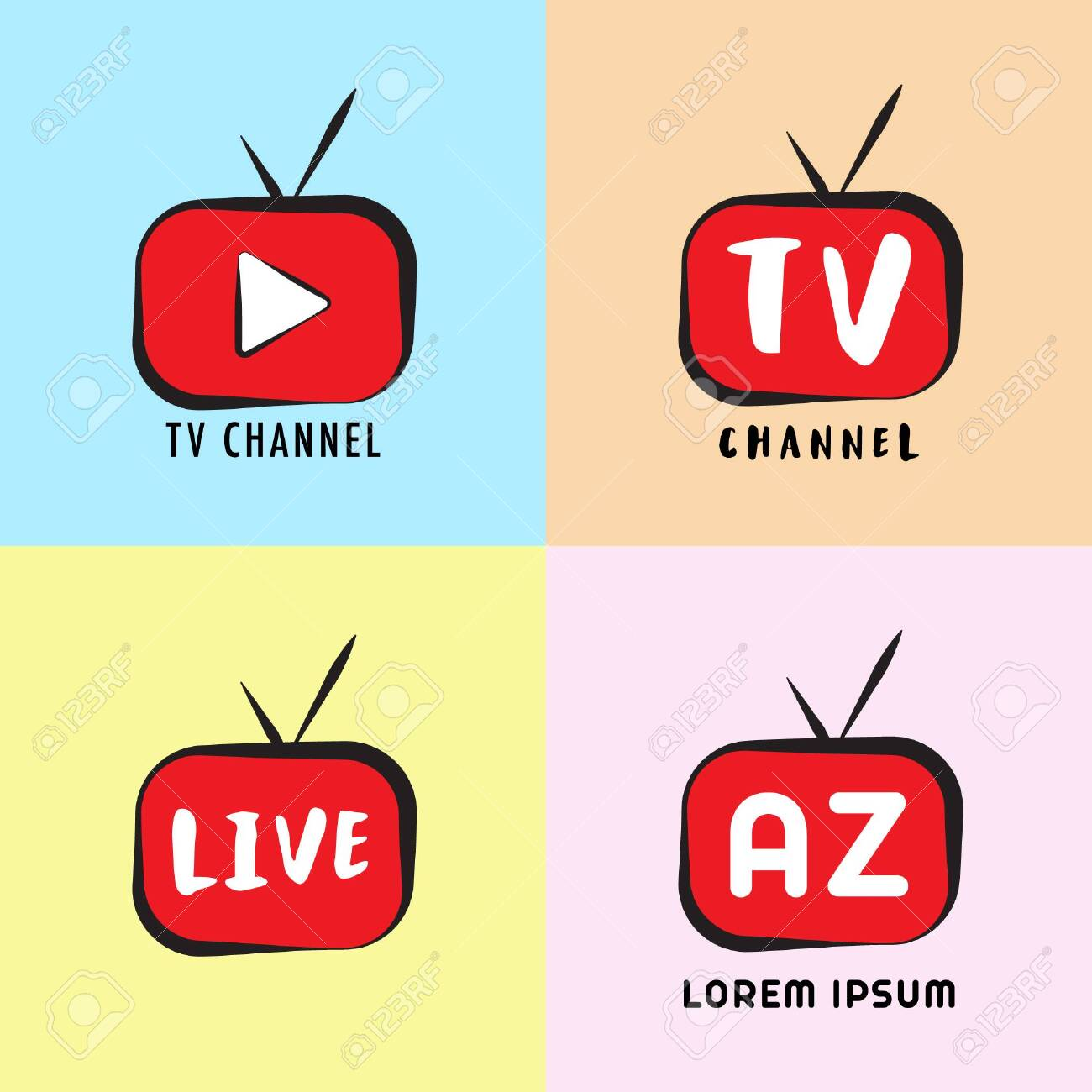 Live Streaming, Online Television, Web TV, Simple, Alphabetic, Pictorial,  Cartoon Concept With Play Button, Red, Black, Colorful Background, TV  Channel Logo Design Template Royalty Free Cliparts, Vectors, And Stock  Illustration. Image 126738051.