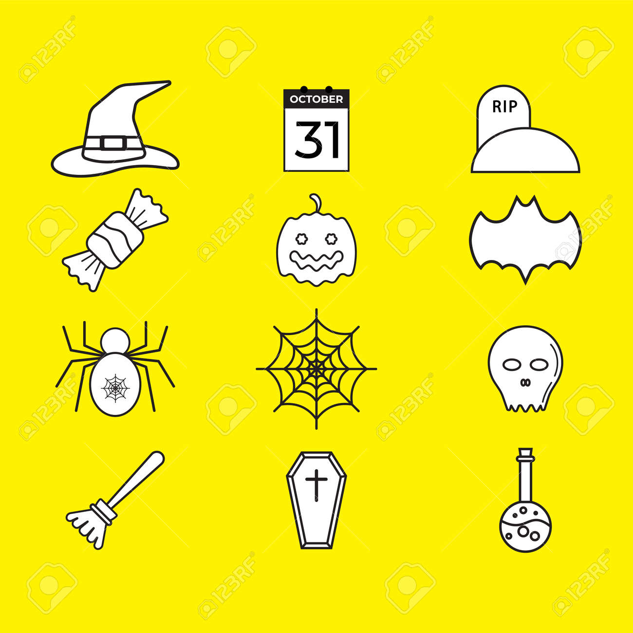 Halloween icon pack isolated on yellow color background. Uncolored vector collection. Black and white illustration design. - 155568850
