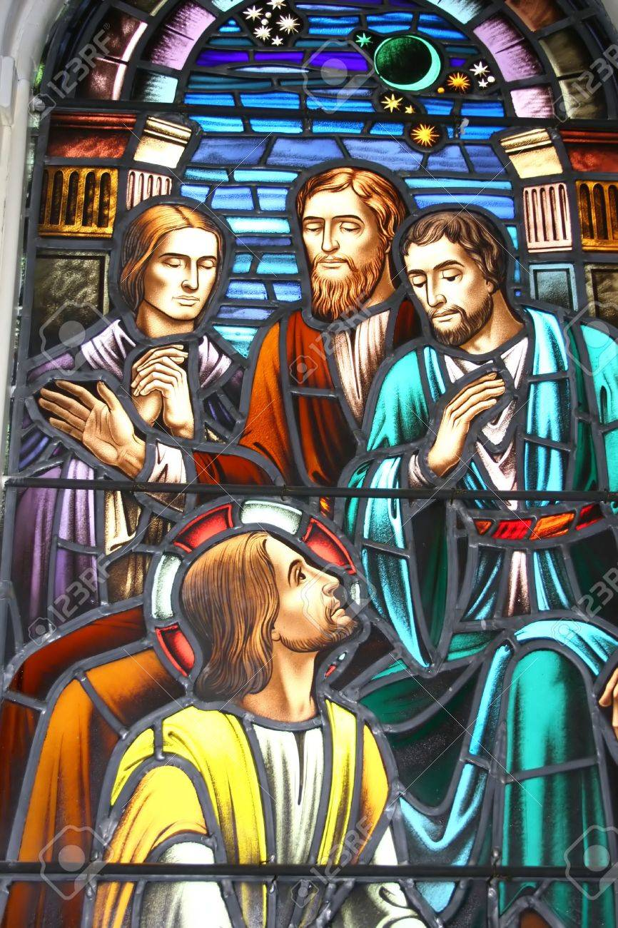 Stained glass window, circa 1900. Jesus and the Disciples theme. Stock Photo - 3298791