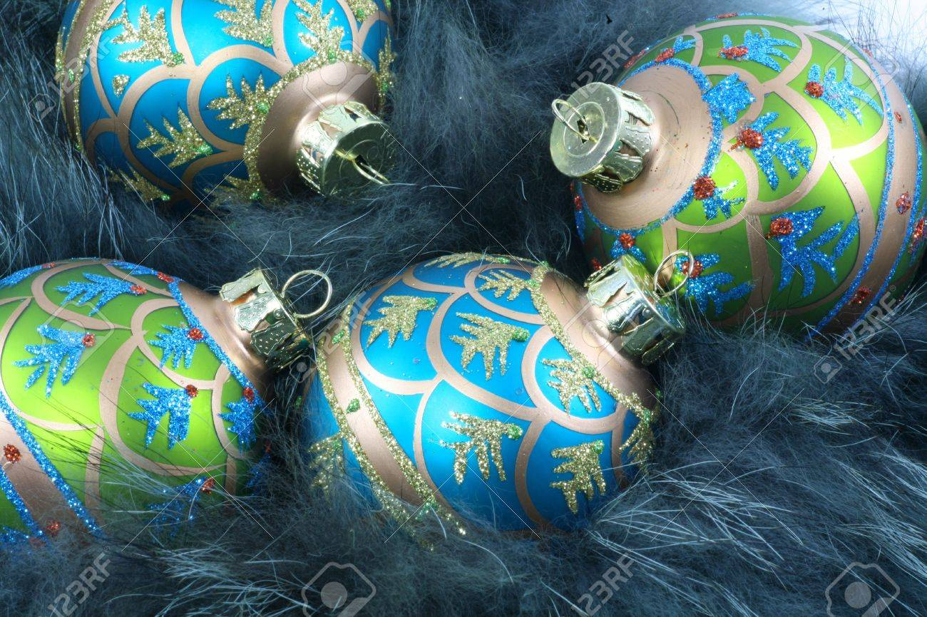 Turquoise And Green Christmas Ornaments Nestled In Turquoise Fur Stock  Photo  3329936