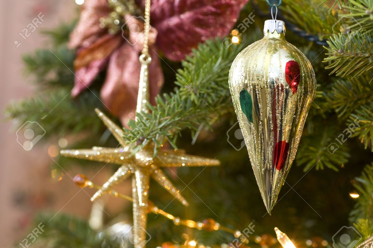 Superb Old Fashioned Christmas Decorations In The Christmas Tree. Stock Photo    5028249