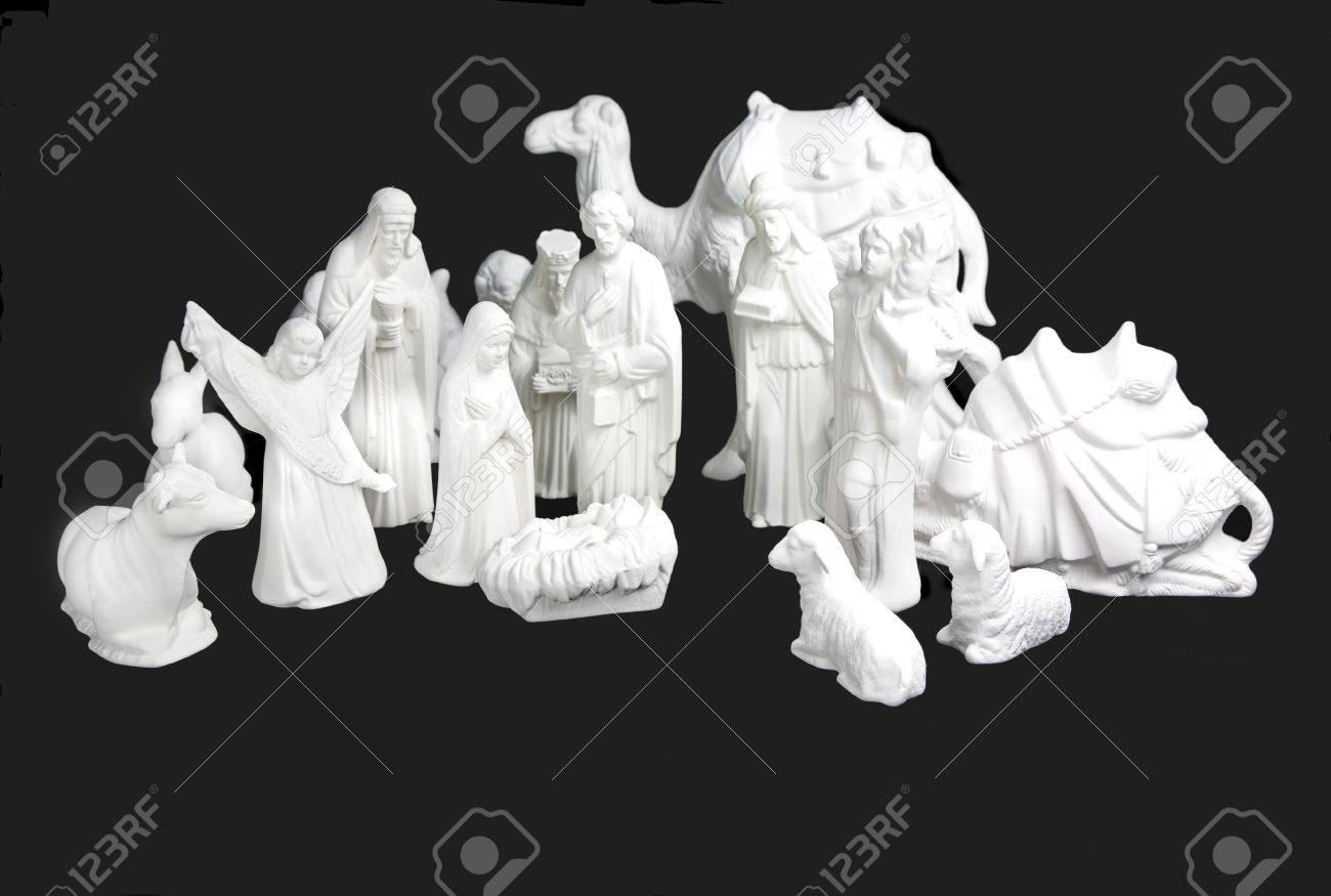Complete set of white ceramic Nativity figurines. Stock Photo - 5697929