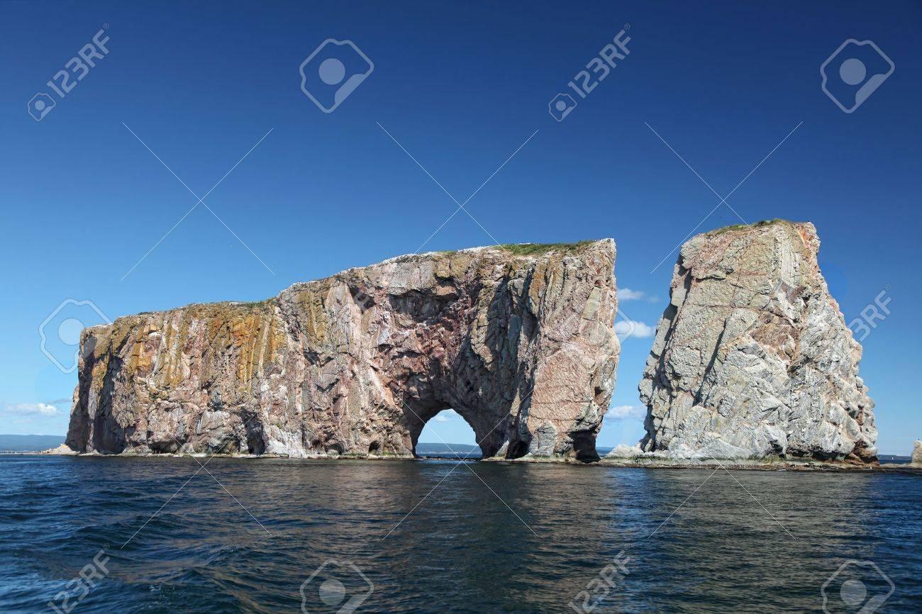 Perce Rock from the sea, Atlantic Ocean, Quebec, Canada - 10700076
