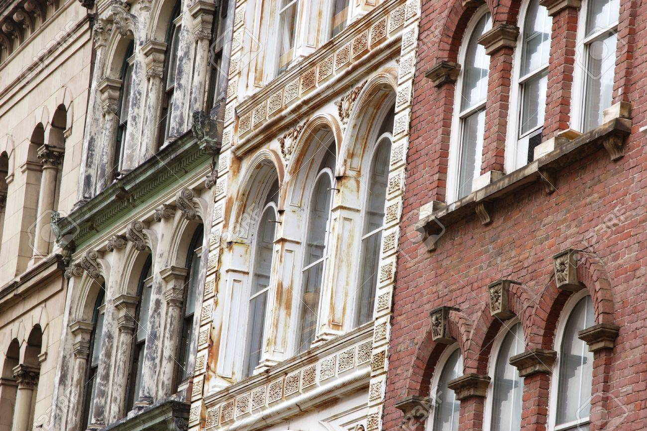 Facades of old buildings in downtown Halifax, Nova Scotia, Canada. Stock Photo - 11868338