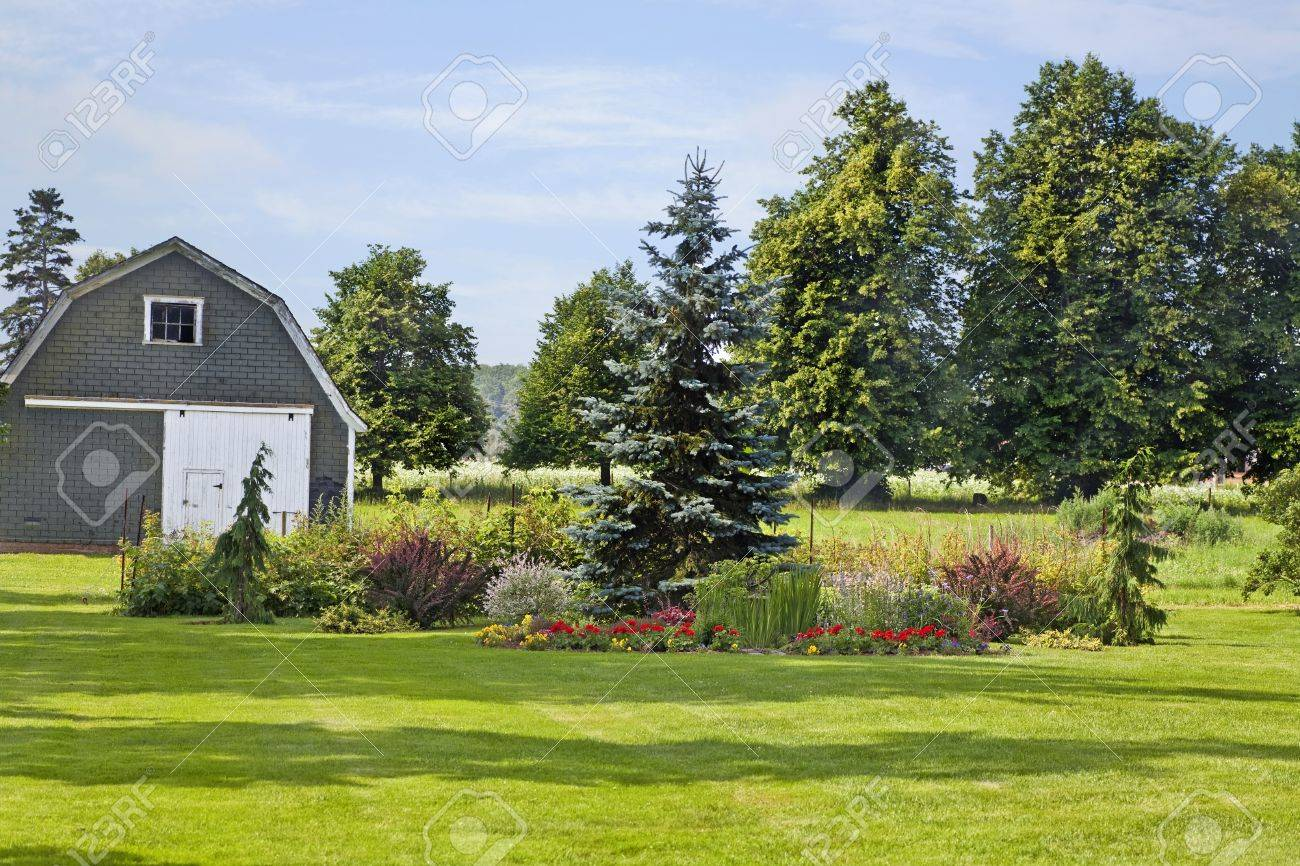 An Ornamental Garden With Conifers And Flowers In A Rural Farm