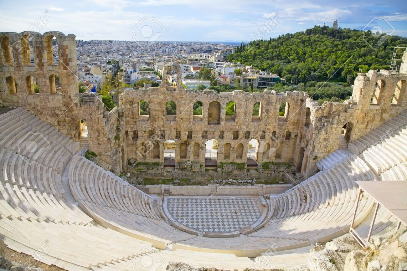 The Odeon of Herodes Atticus on the south slope of the Acropolis in Athens, Greece. c 161 AD.  The city of athens is in the background. Stock Photo - 12721465