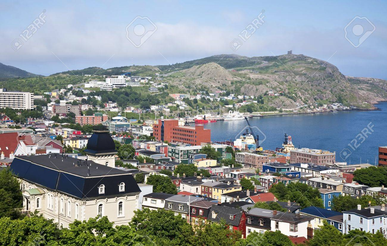 View of St. John's, Newfoundland, the harbor and Signal Hill. Stock Photo - 12711100