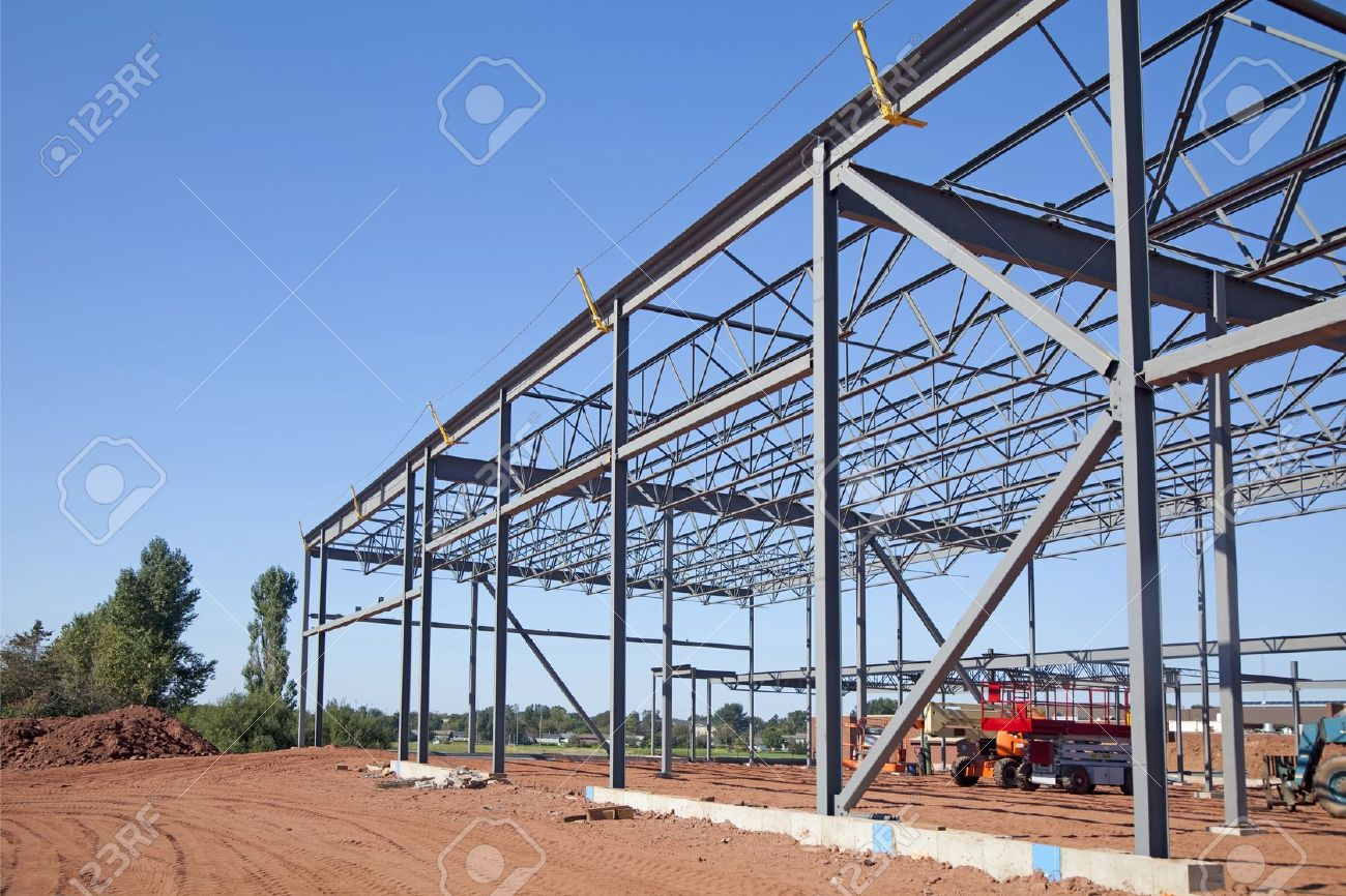 Work site and large steel frame of a large commercial building. Stock Photo - 13446032