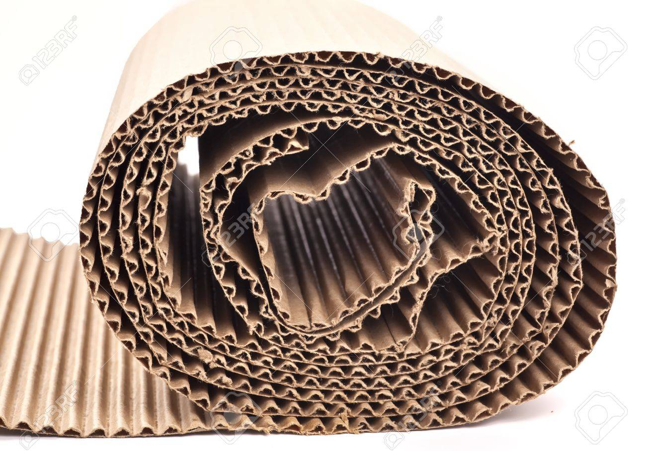 A rolled up section of corrugated cardboard Stock Photo - 15197115