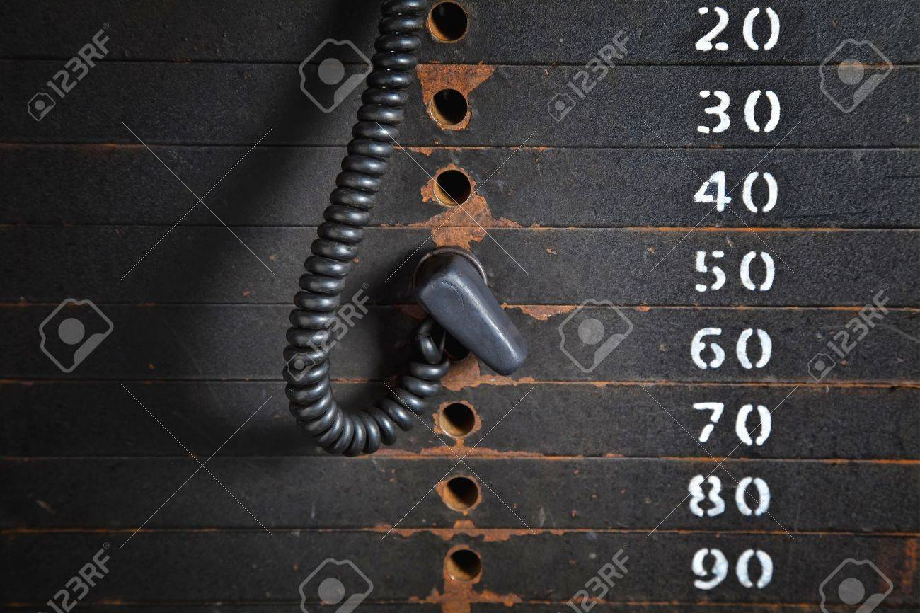 Old rusty weight stack in a gym. Stock Photo - 17589588
