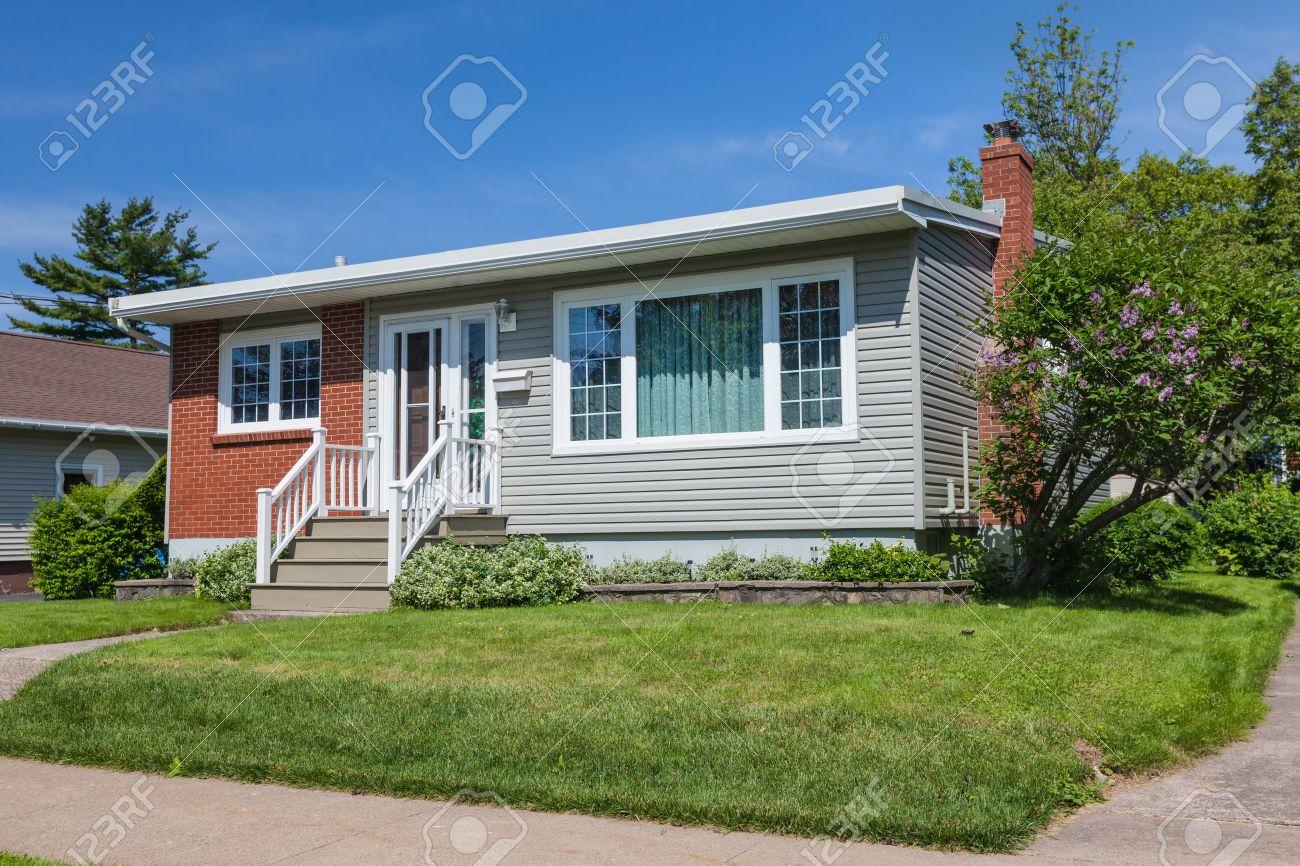 north america sixties era wooden bungalow in suburbia stock photo