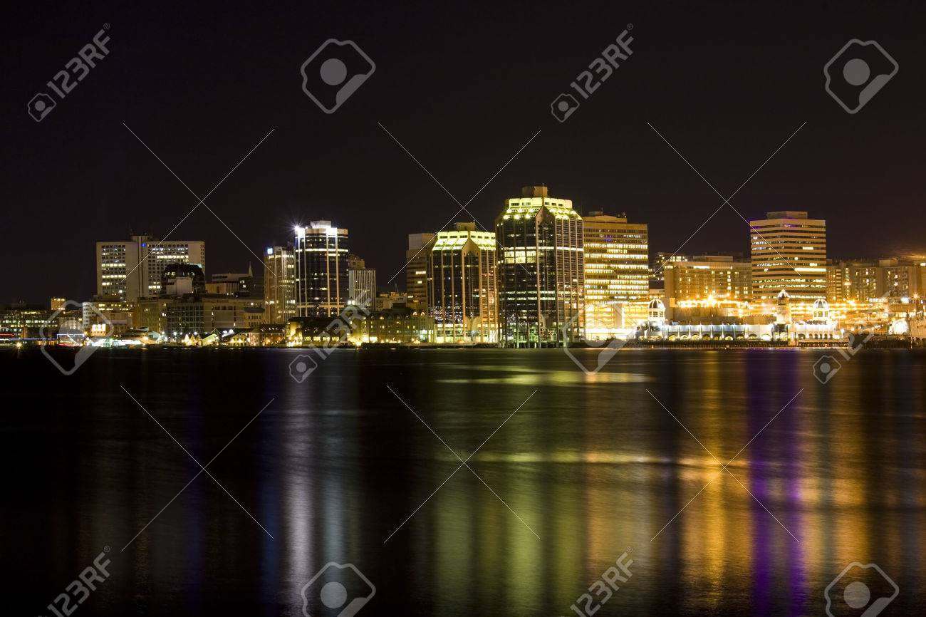 Night time view of the Halifax, Nova Scotia waterfront as viewed from the Dartmouth side. Stock Photo - 24260479