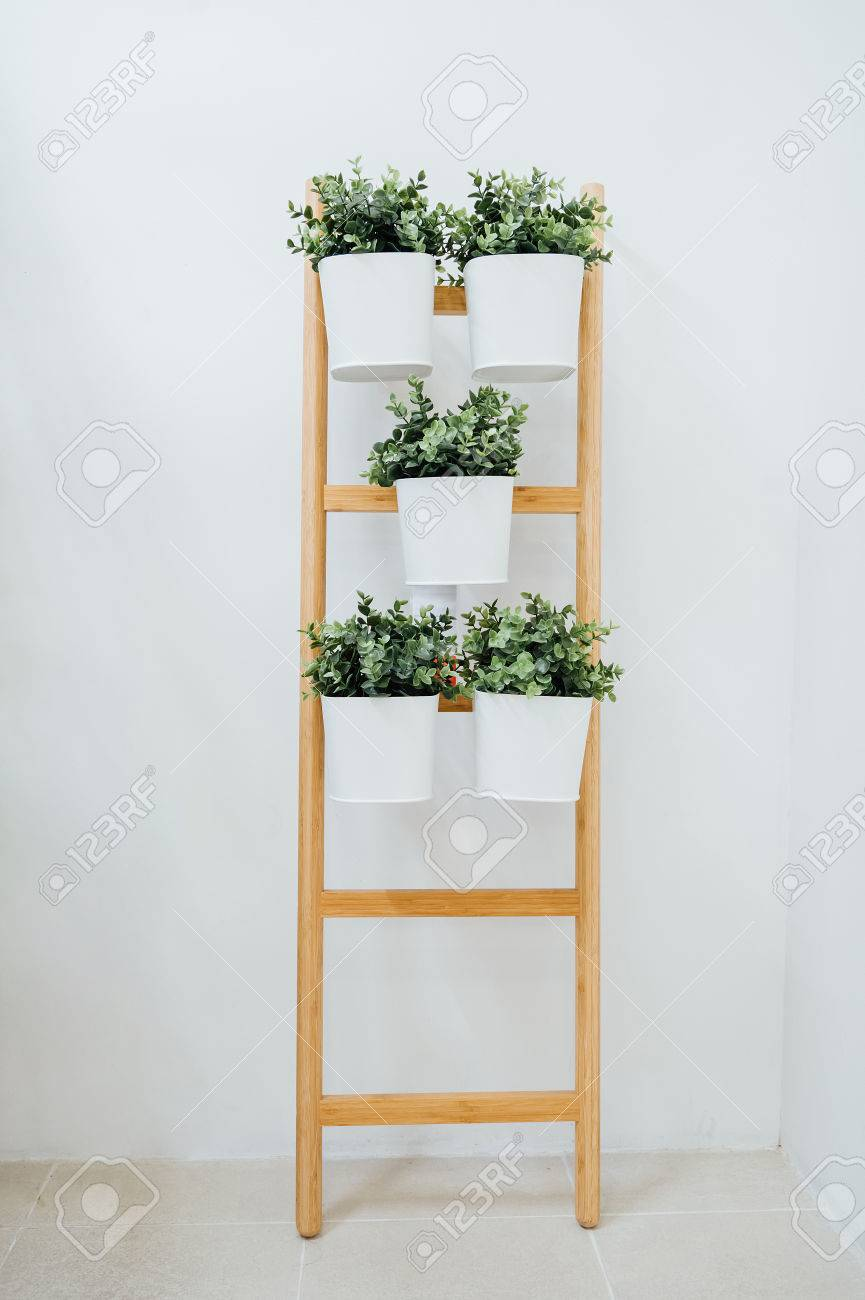 Plant Stand With 5 Plant Pots Bamboo Whitea Decorative Ladder