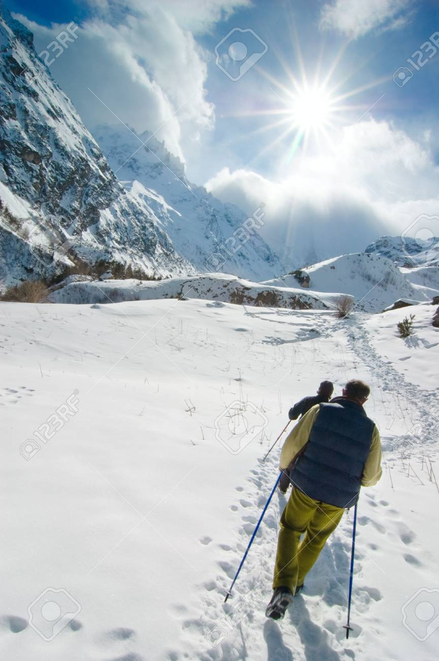 Hikers go up in mountains Stock Photo - 4820352