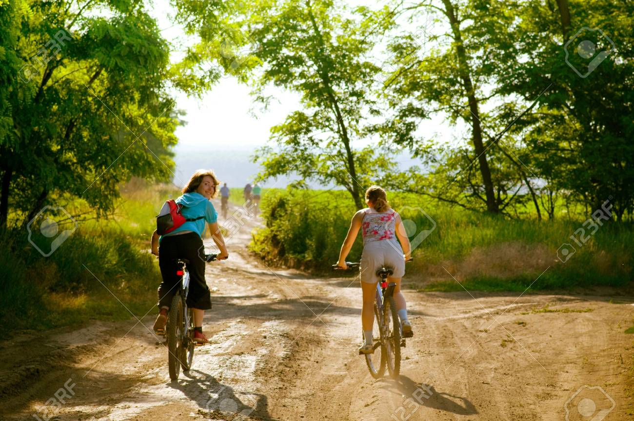 mixed group of cyclists relax biking Stock Photo - 5159712