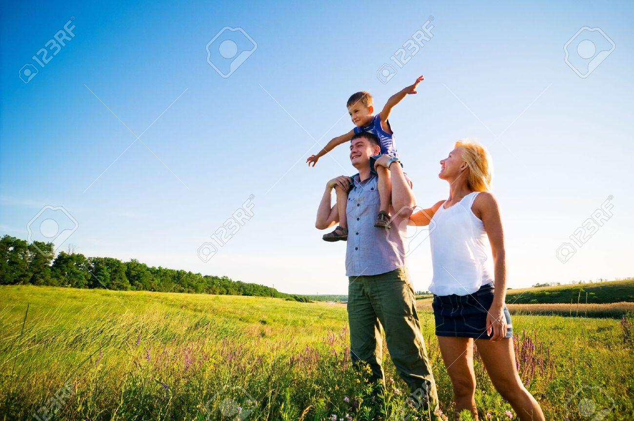 happy family having fun outdoors Stock Photo - 5159781