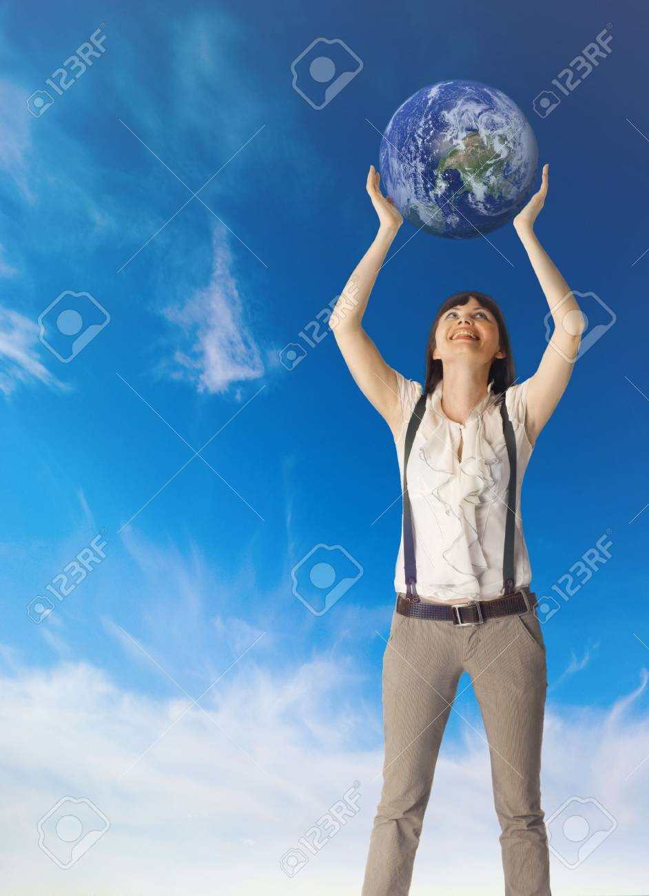 Woman hold earth in hands Stock Photo - 5159685