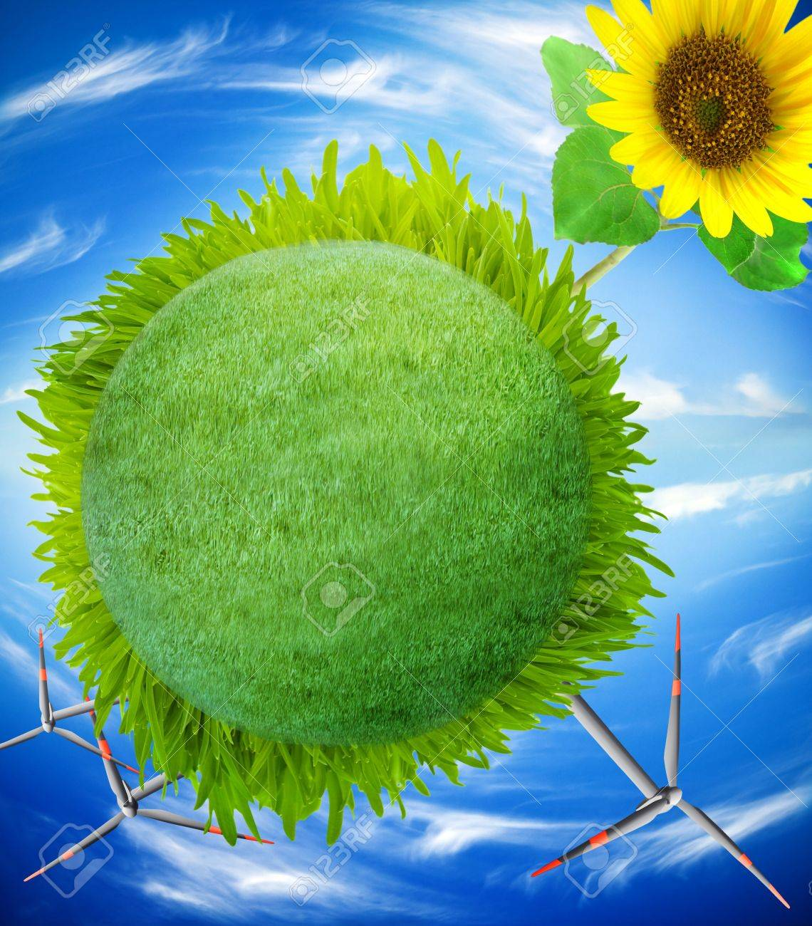 earth globe covered with grass Stock Photo - 5837617