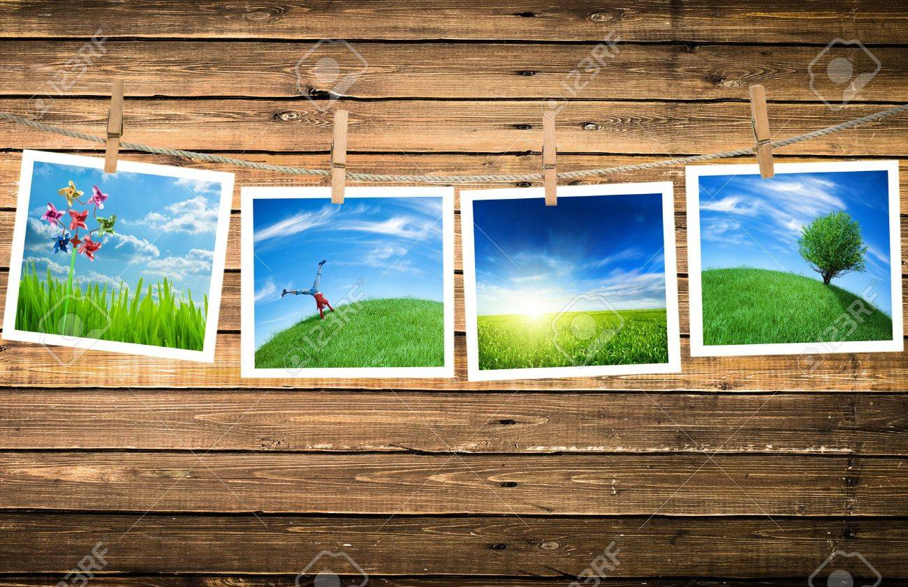 ecology pictures on a clothes line Stock Photo - 6167166