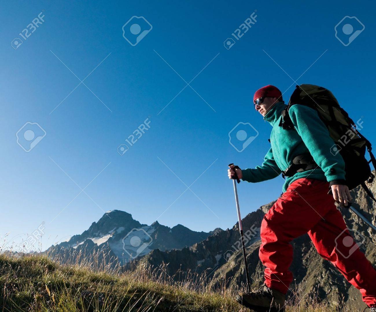 man hiking in a mountain Stock Photo - 8949645