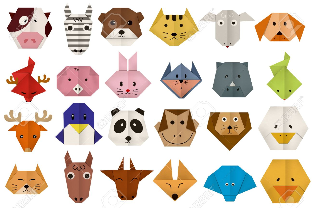 Origami dog face how to origami - Origami Paper All Animal Face Stock Photo 37438389