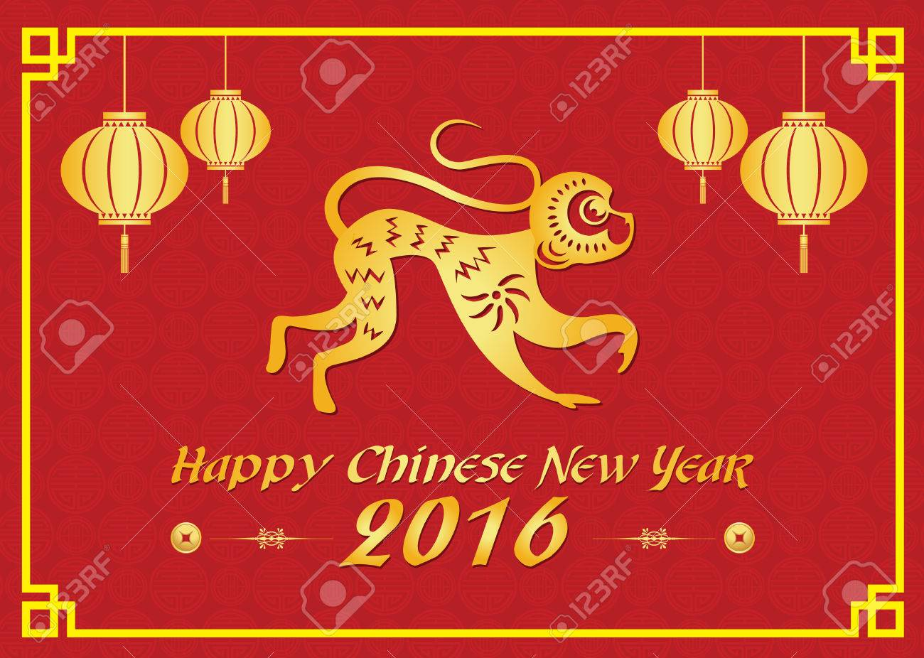 Happy chinese new year 2016 card is lanterns gold monkey and happy chinese new year 2016 card is lanterns gold monkey and chiness word is mean kristyandbryce Choice Image
