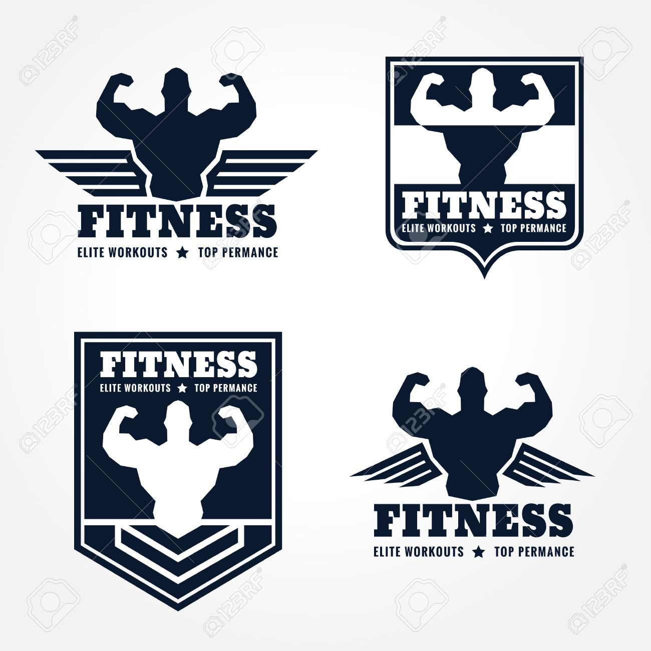Fitness Logo Emblems In Retro Style Graphic Design (wings And ... for Bodybuilding Graphic Design  299kxo