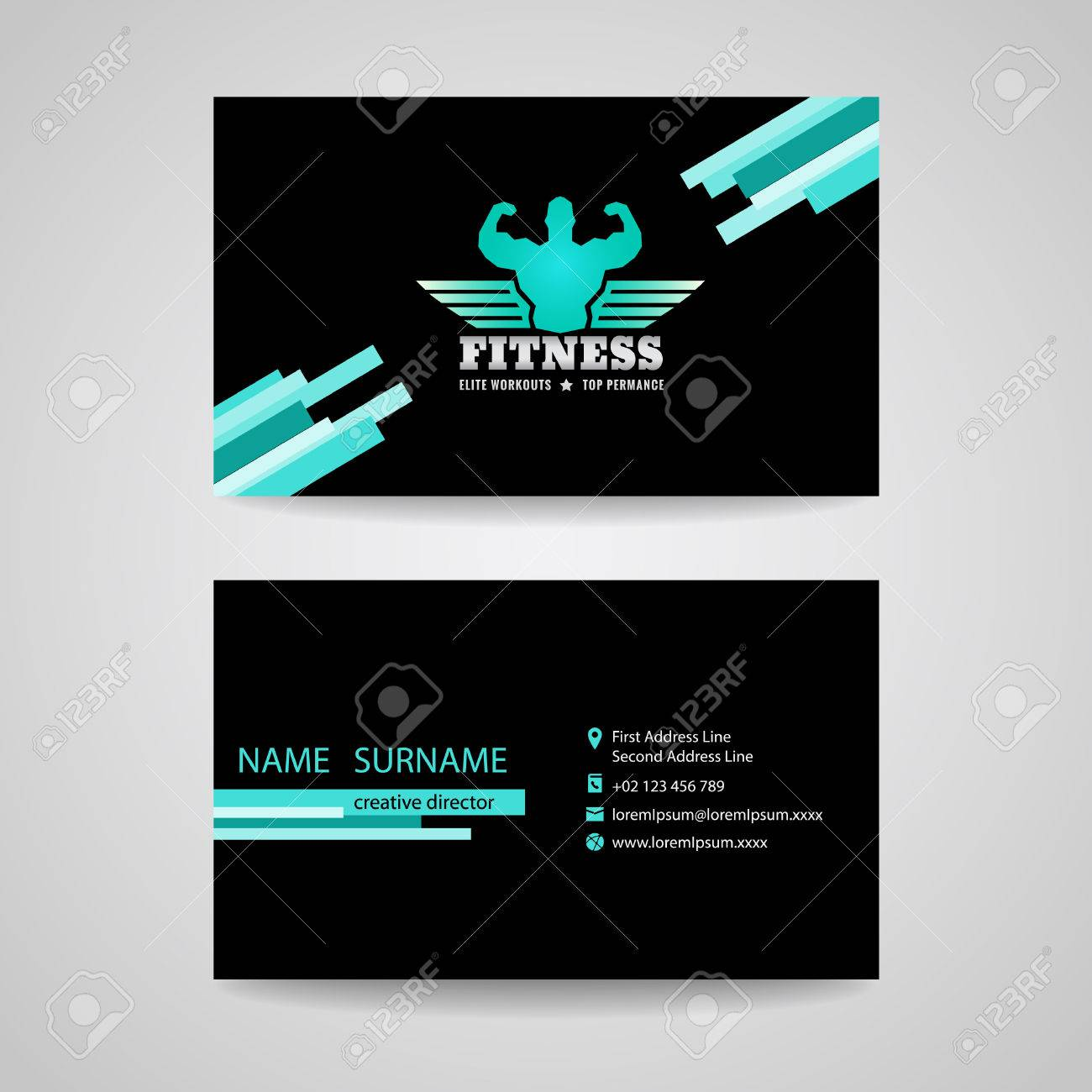 Business Fitness Gym Card (wings And Muscle Blue Mint -black ...