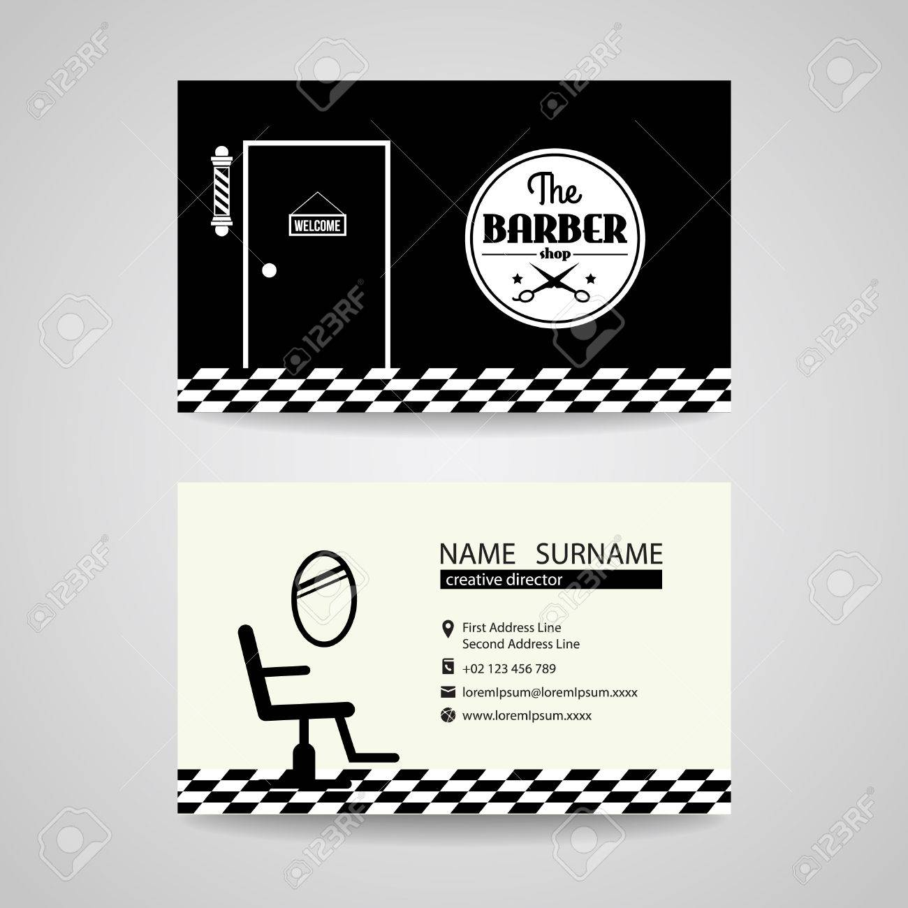 Barber Shop Back And White Retro Business Card Vector Design Royalty ...