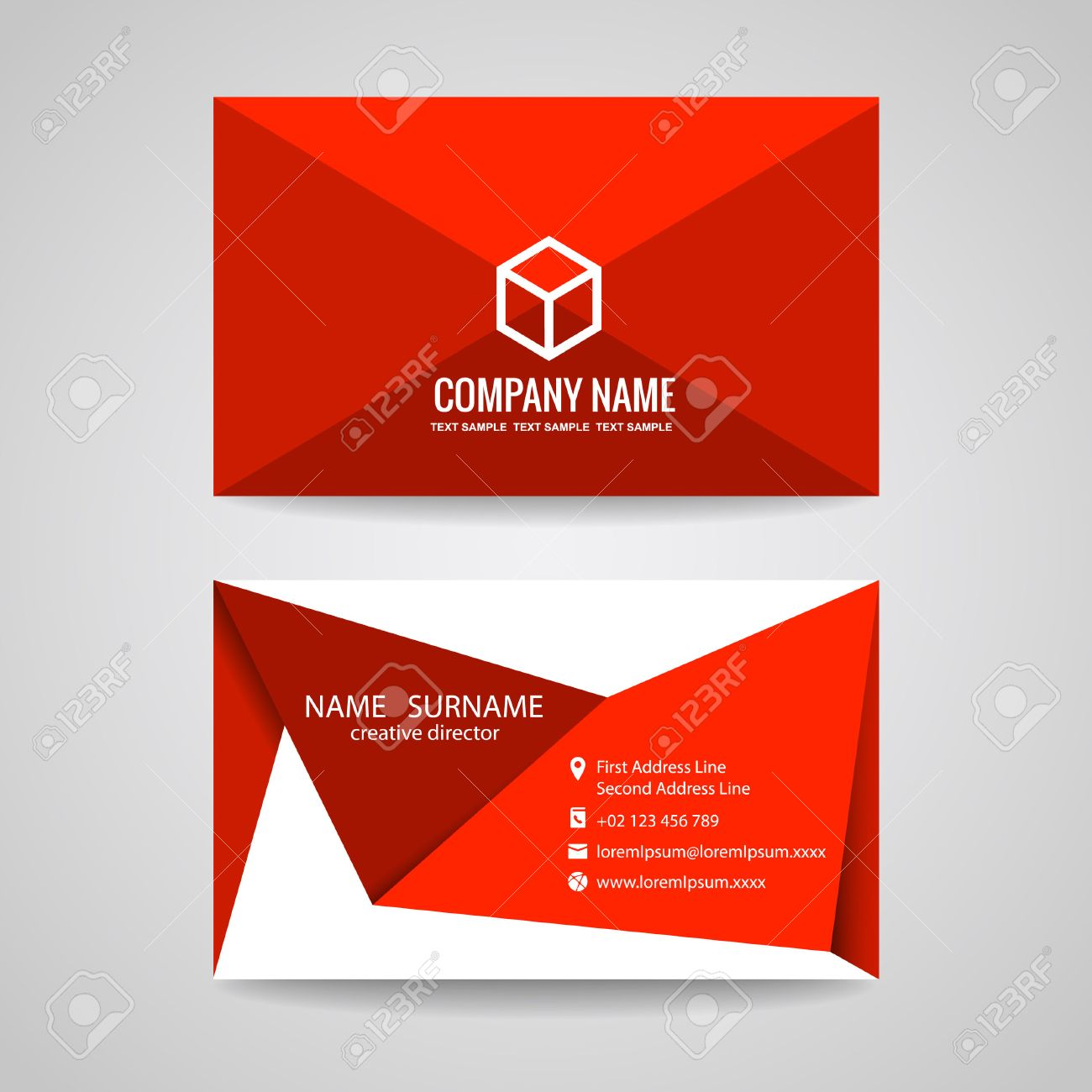Vecteur De Carte Visite Conception Graphique Triangle Rouge Pli