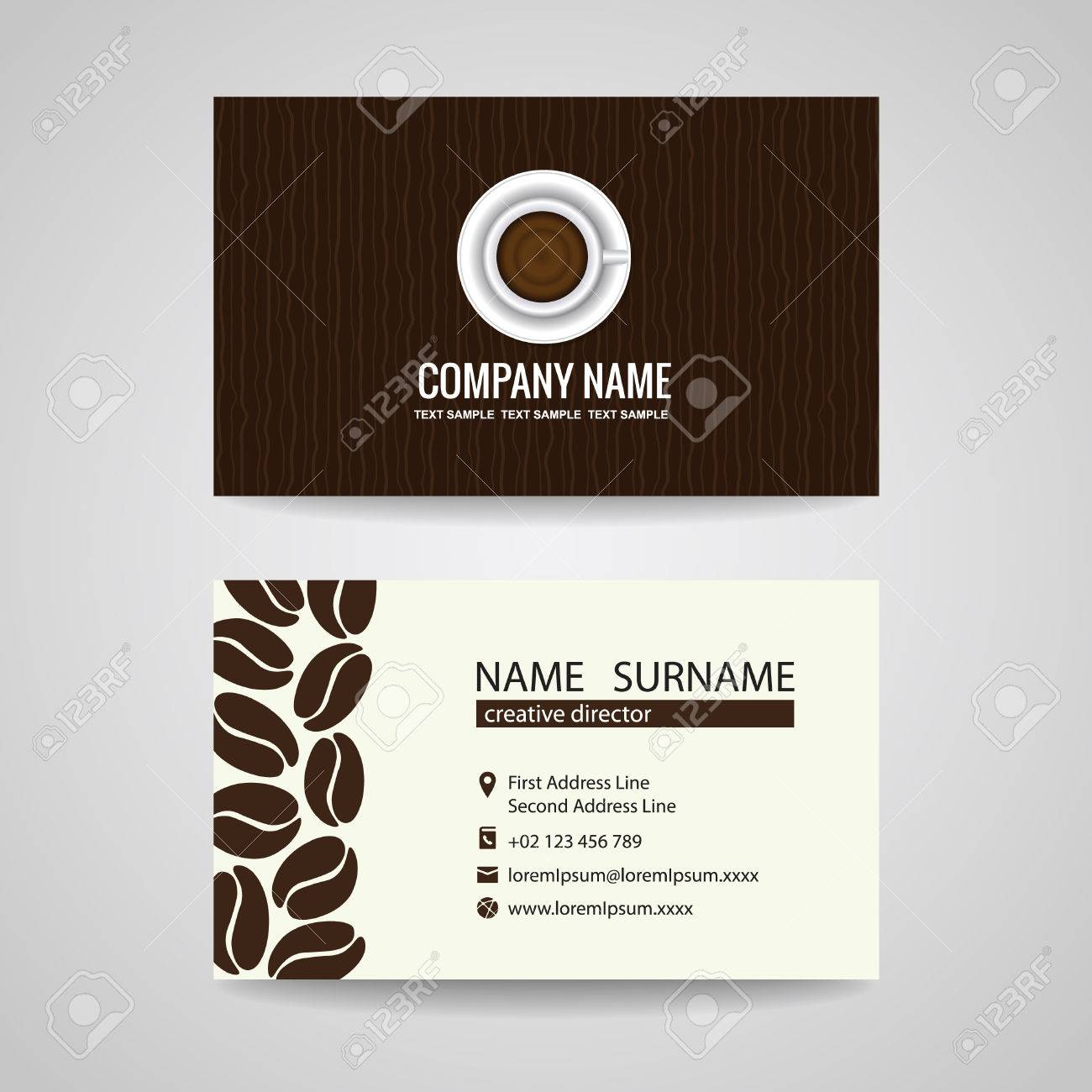 Business Card Vector Graphic Design Coffee Cup And Coffee Beans