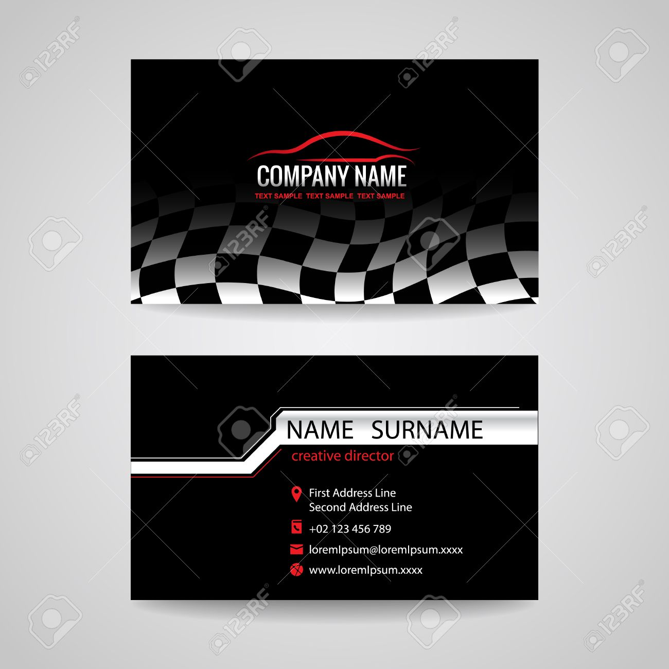 Business Card For Transportation Car Racing Sport And Car Wash Stock Vector