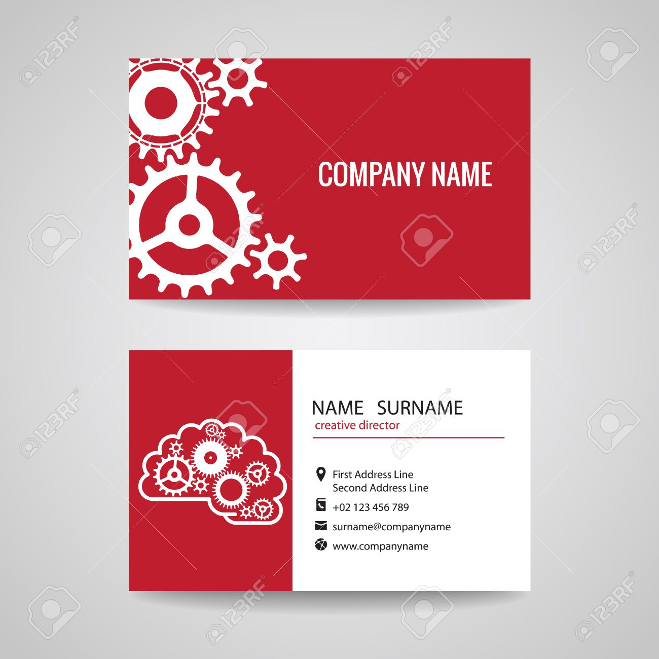 Business Card Gear Idea For Engineer And Mechanical Royalty Free ...