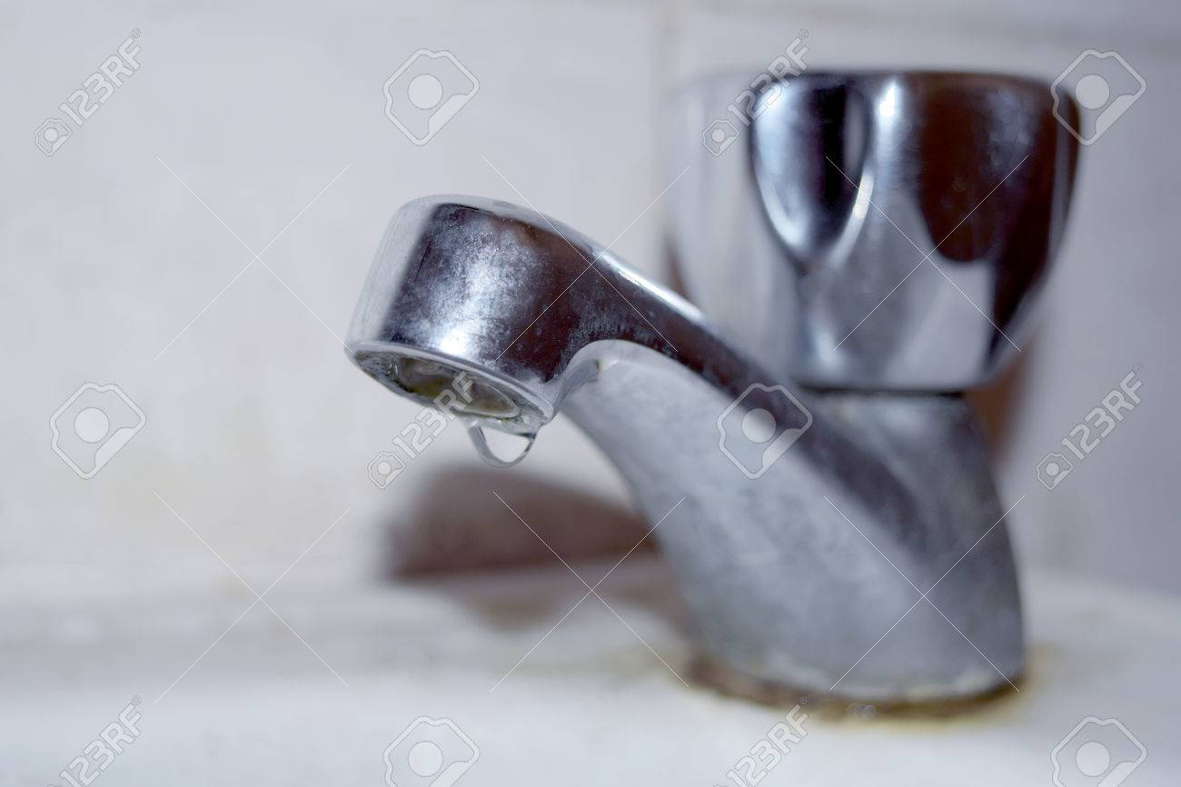 Close Up Old Faucets Drip In The Bathroom - Soft Style Stock Photo ...