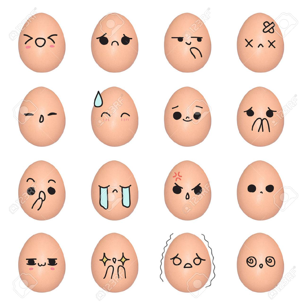 Egg Emoticon Face Action Cartoon Cute To Draw The Line Stock Photo