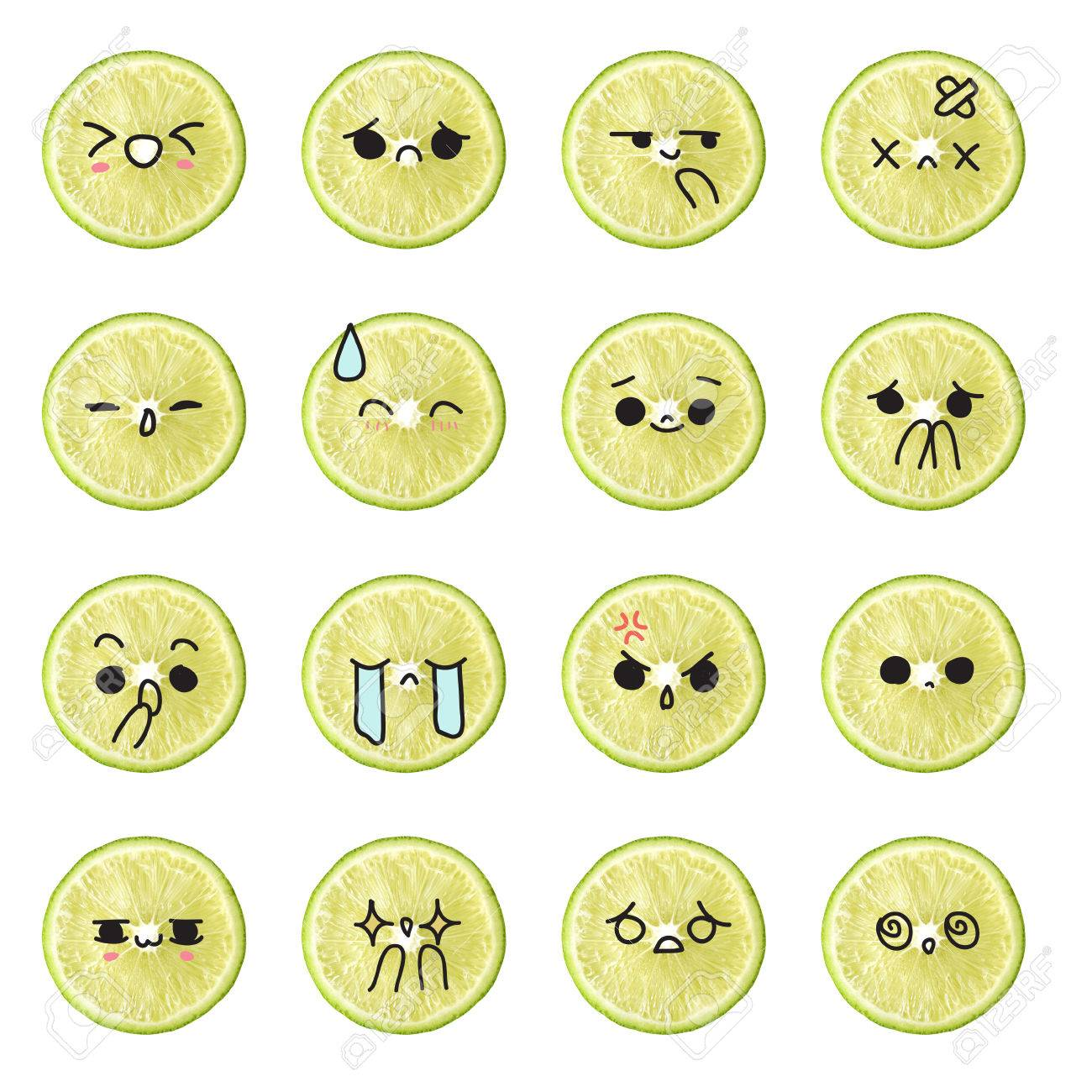 Lemon Emoticon Face Action Cartoon Cute To Draw The Line Stock