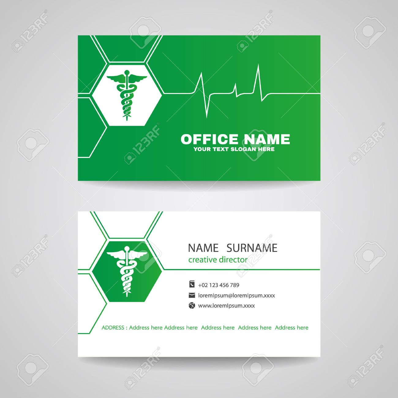 Business Card For Medical Healthcare - Green Caduceus And Waves ...