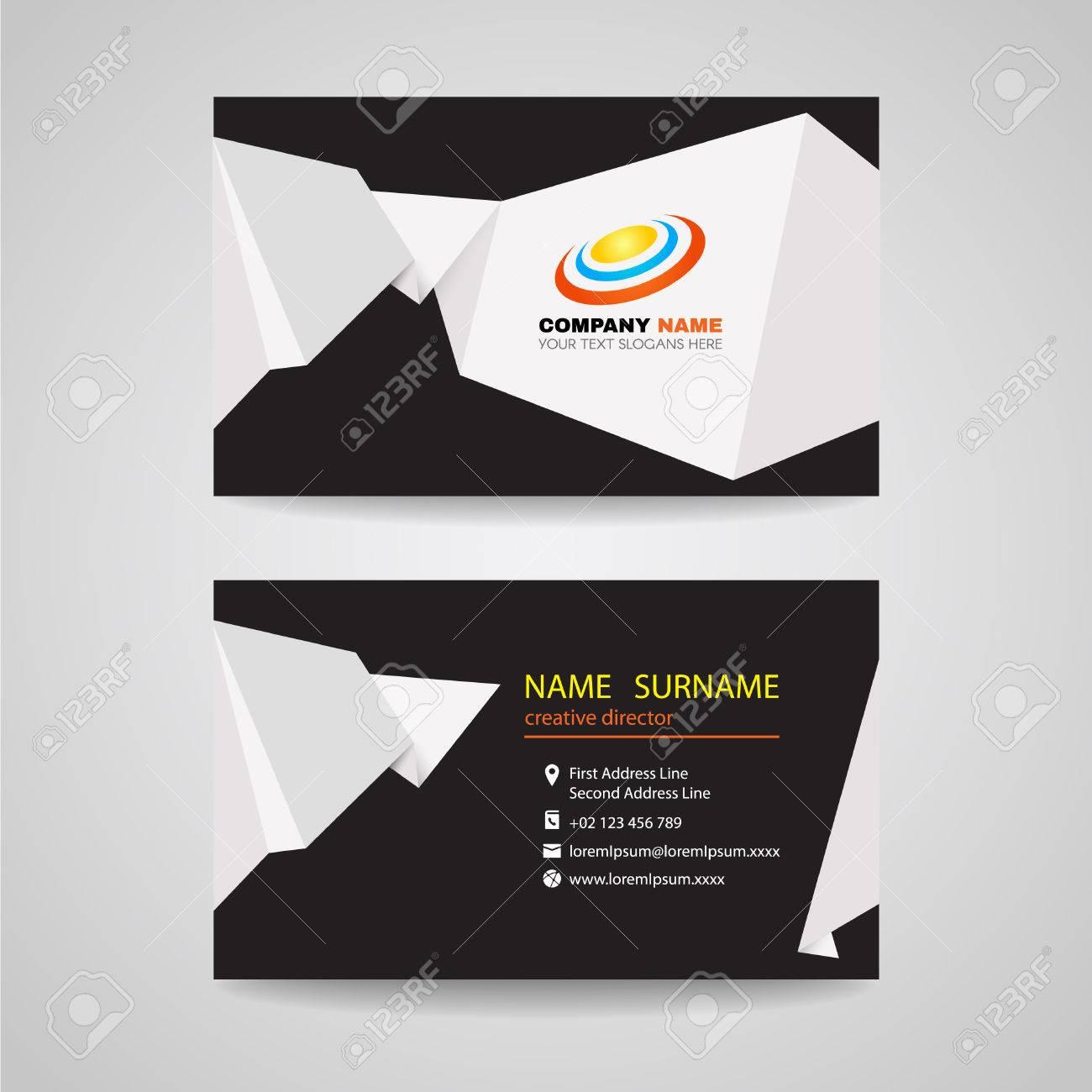 Business card vector design white sharp origami paper on black business card vector design white sharp origami paper on black background stock vector 45010589 reheart Choice Image
