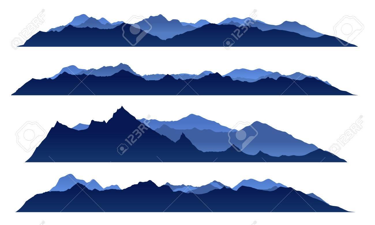 Blue sky mountain view set vector design - 45250373