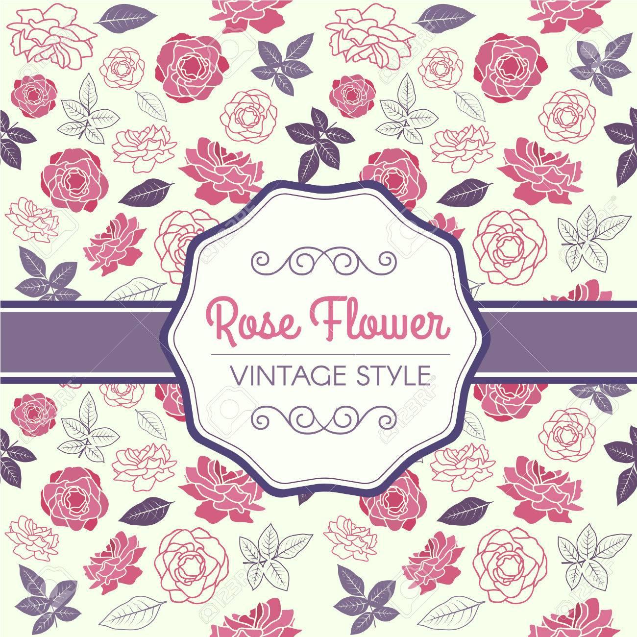 pink rose and purple leaf vintage pattern vector design royalty