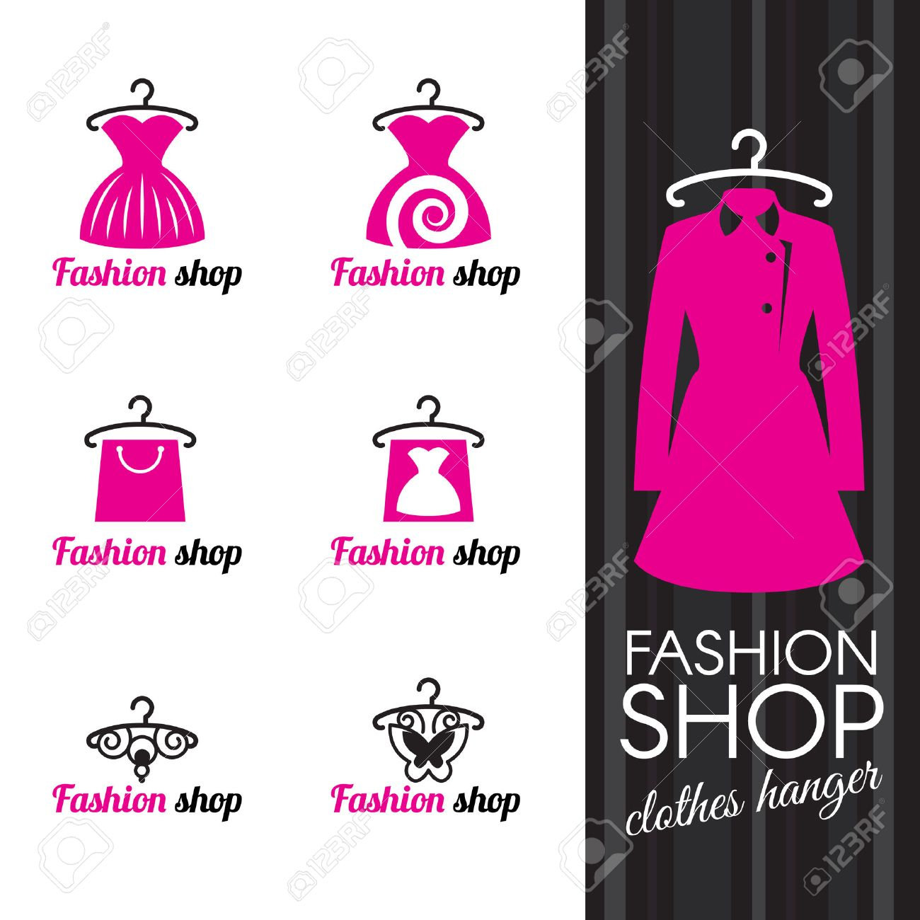 Clothes hanger and dress shopping bag and butterfly Stock Vector - 46370102