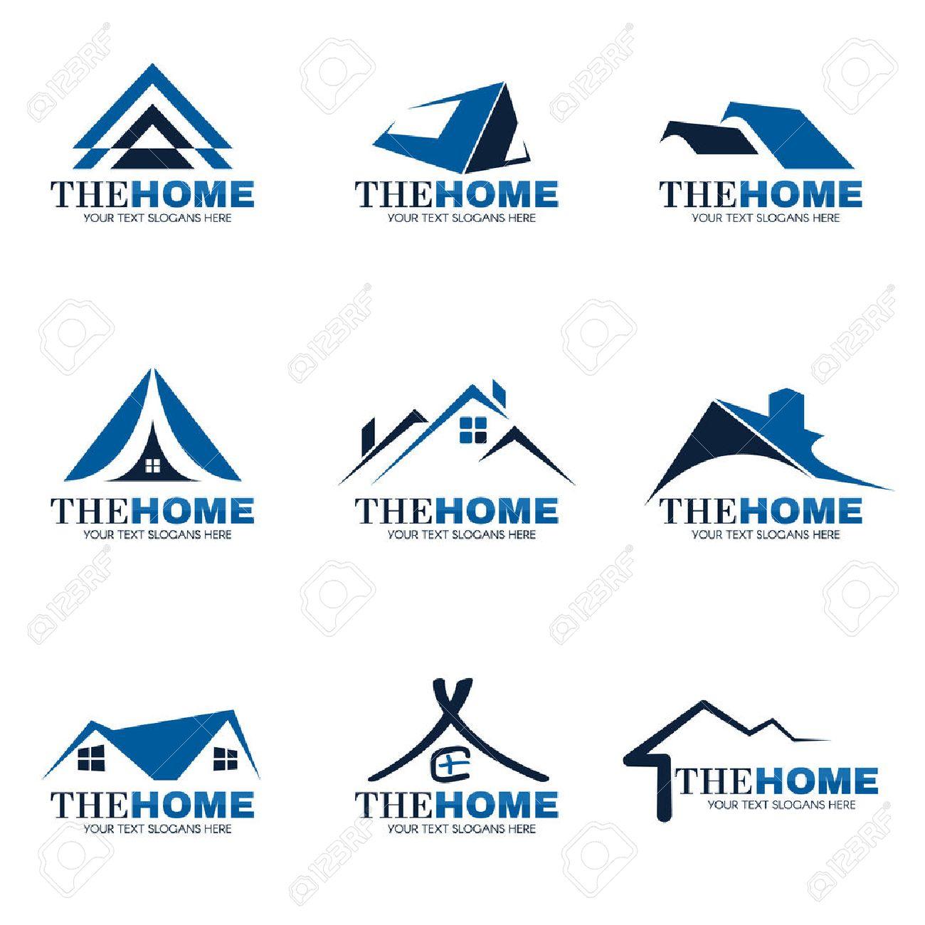 Home Logo blue and gray home logo set vector design royalty free cliparts