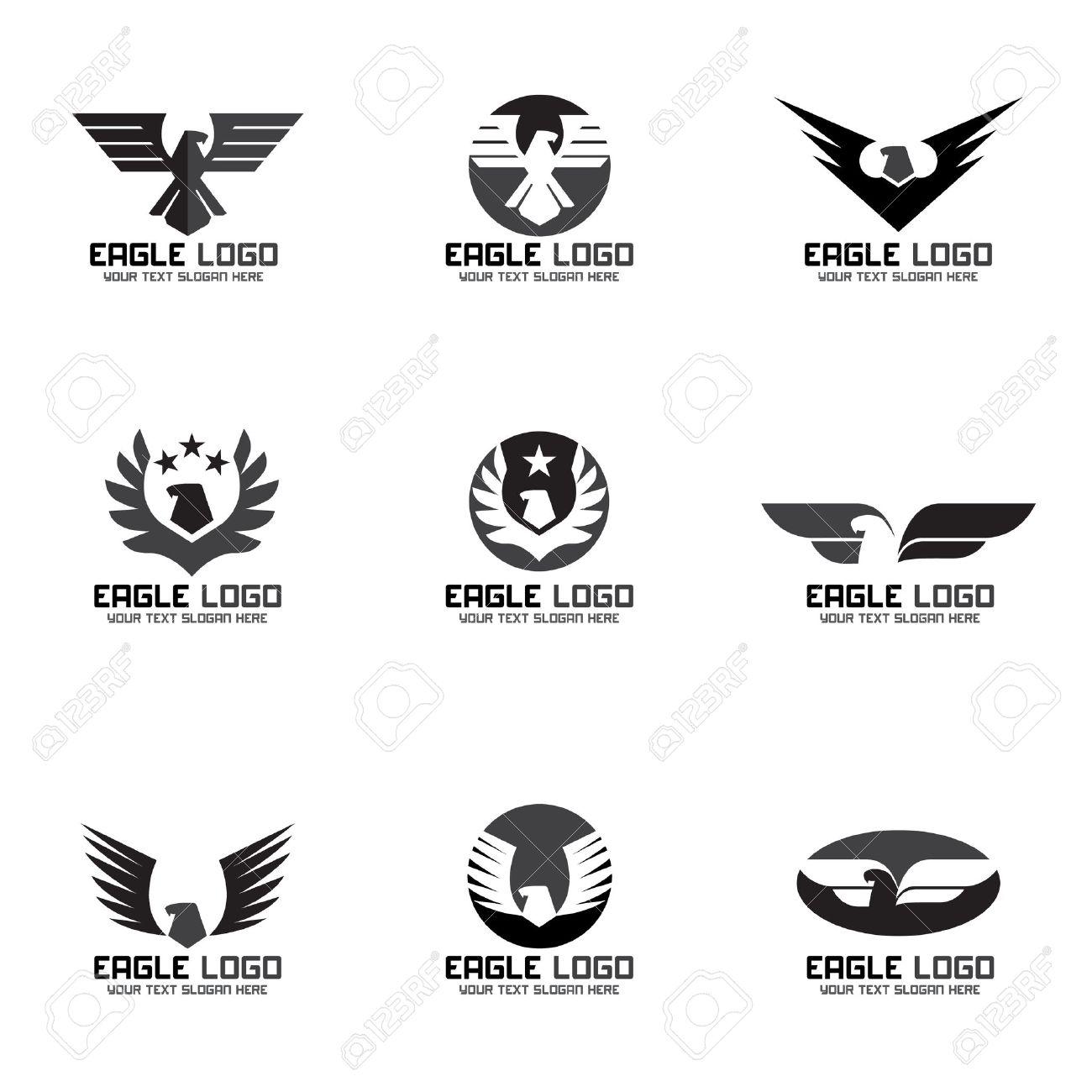 black gray eagle vector logo set design royalty free cliparts rh 123rf com logo vectors psd logo vectors for photoshop