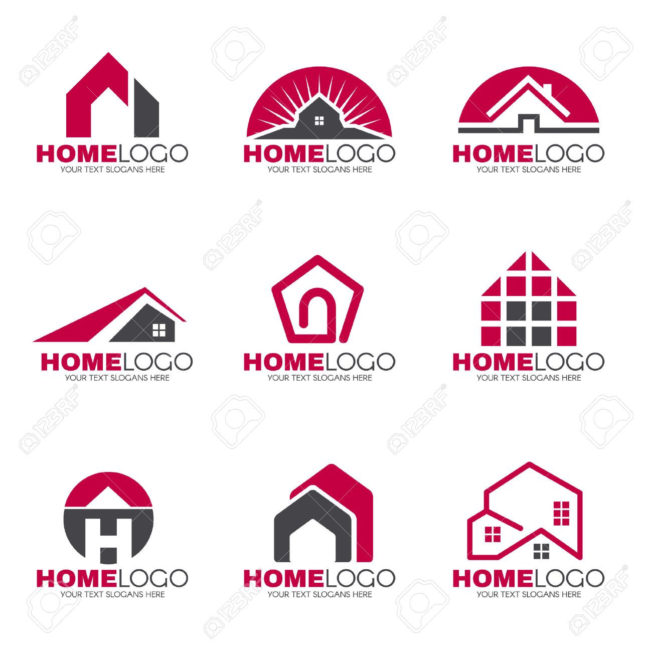 Red And Gray Home Logo Set Vector Design Royalty Free Cliparts ...