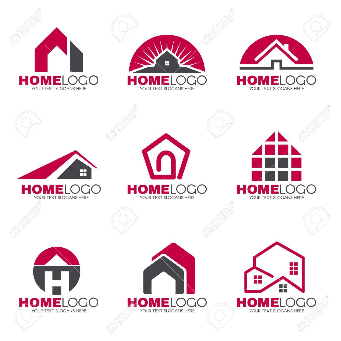 Home Logo and gray home logo set vector design royalty free cliparts