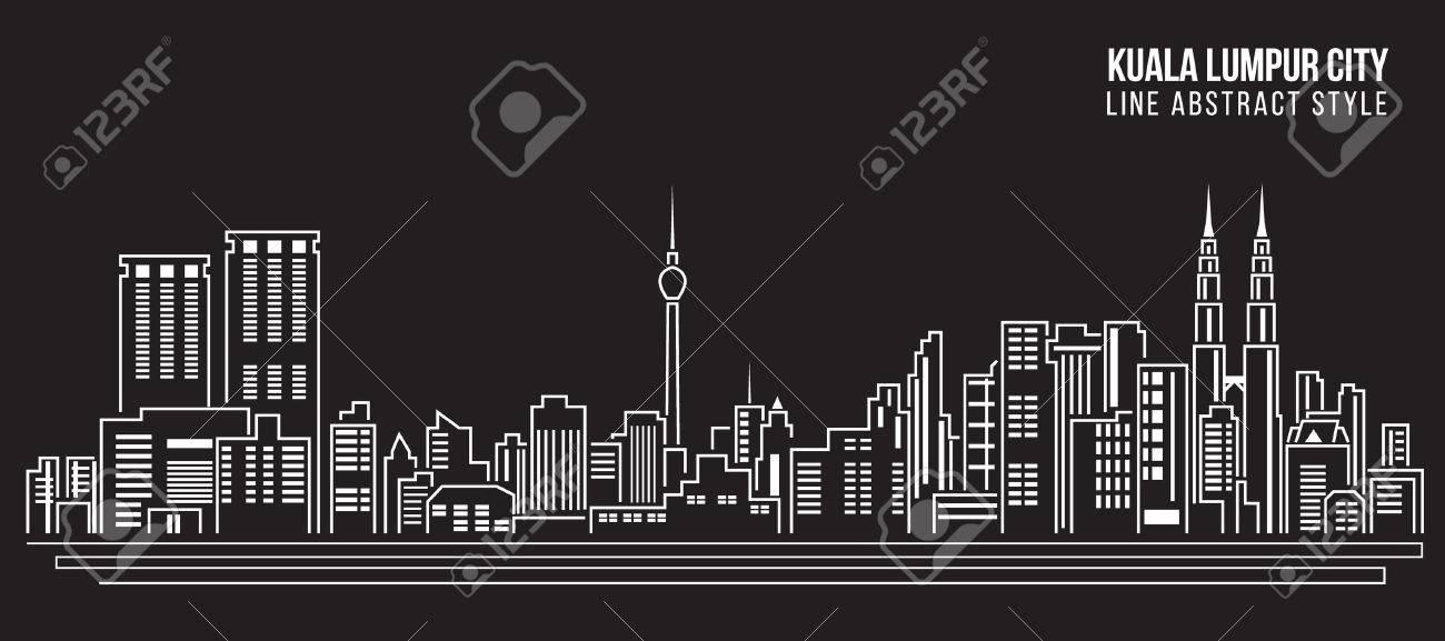 Cityscape Building Line art Vector Illustration design - Kuala Lumpur city - 50738130