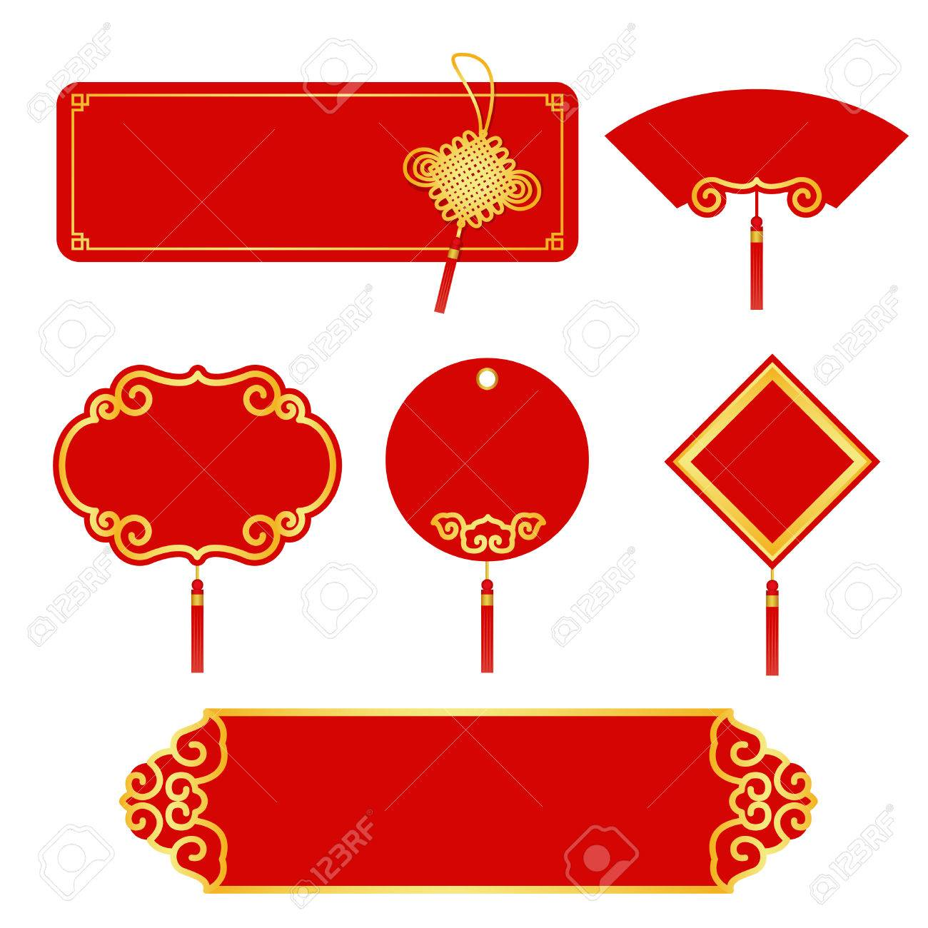 red and gold label for chinese new year set design stock vector 51499960
